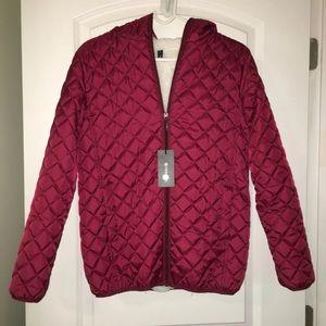 Women's XS/Juniors L Hooded Burgundy Snow Jacket